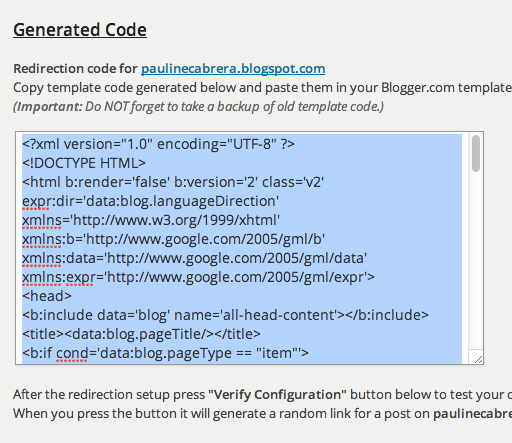 Copy the generated code
