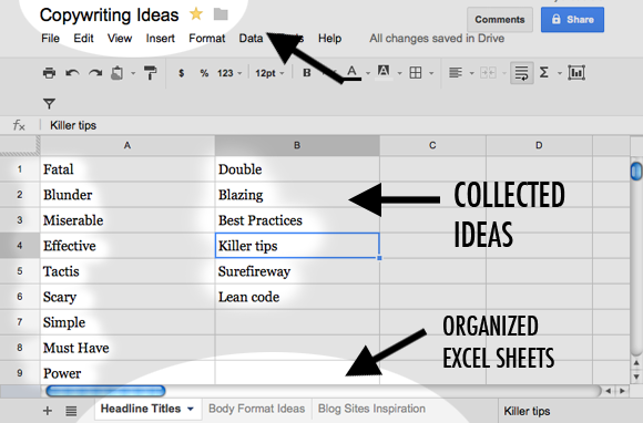 google docs as a swipe file creator
