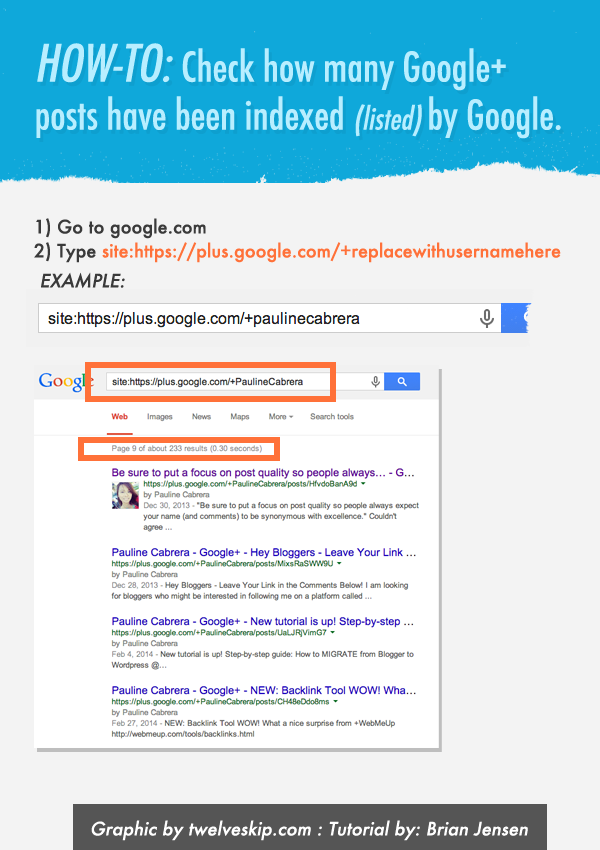 Determine How Much Google Plus Posts Have Been Indexed