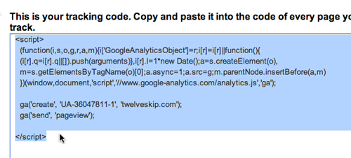 Copy the given Google Analytics code