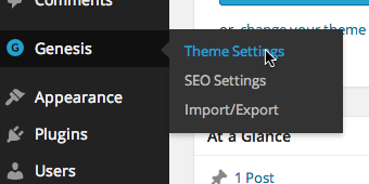 Click Genesis from the sidebar and click Theme Settings