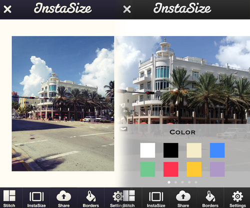 Instasize App to allow full size photos on Instagram.