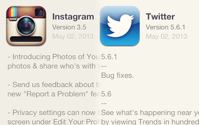 iphone app: new instagram (version 3.5) and twitter (version 5.6.1) updates!