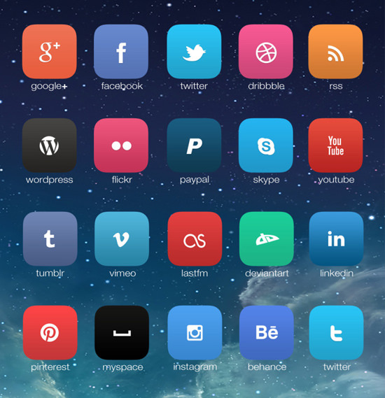 iOS7 social icon set