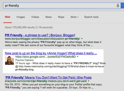 Google Plus posts in SERPs