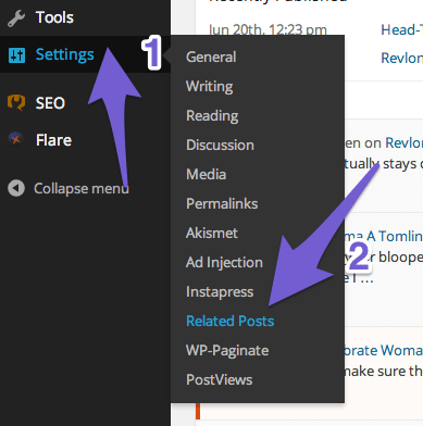 Click Settings and select Related Posts