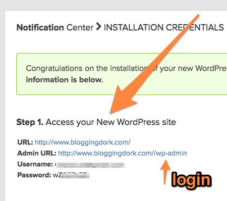 Click Admin URL