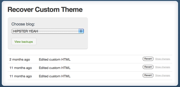 Select Previous Change in Theme