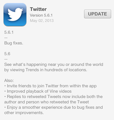 Twitter Iphone App Updates