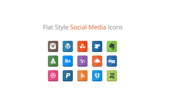 Flat Style Design Social Media Icons