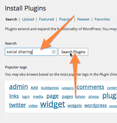 Search for social sharing plugins