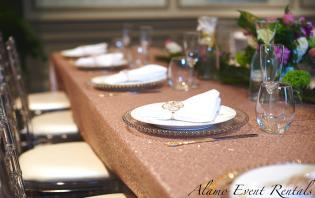 Rent Champagne Sequin Table Cloths in Toronto