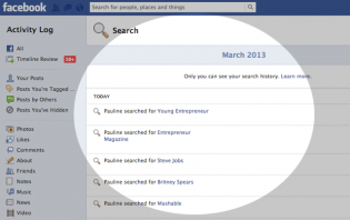 how to view your facebook search history