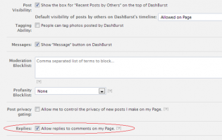 how to activate replies to comments on a facebook page