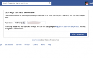 how to register for a unique facebook page username