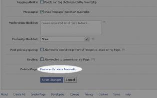 deleting a facebook fanpage