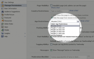 restricting your page to young facebook users