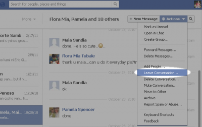 how to delete the group conversation on facebook