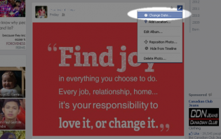 changing the date of your post on facebook page