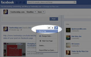 pinning a post on top of your facebook page