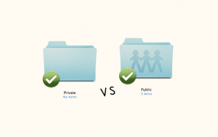 shared vs private file or folder in dropbox