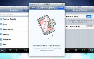 enabling and disabling camera upload feature in dropbox