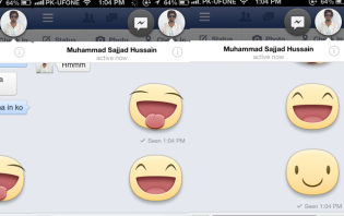 How to add a big smiley on a Facebook conversation using iPhone?