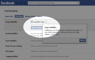 about published and unpublished fan pages on facebook