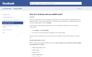 Liking a Facebook page via mobile text